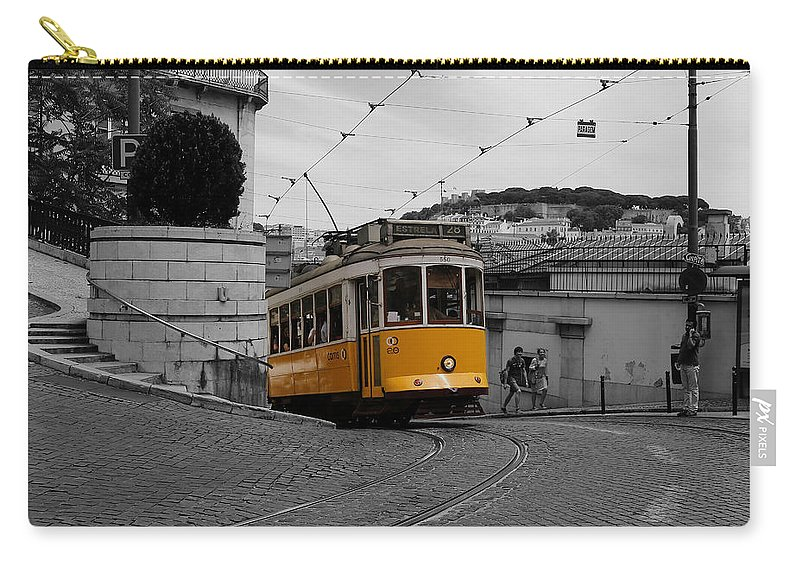 Trolley Carry-all Pouch featuring the photograph Lisbon Trolley 10c by Andrew Fare