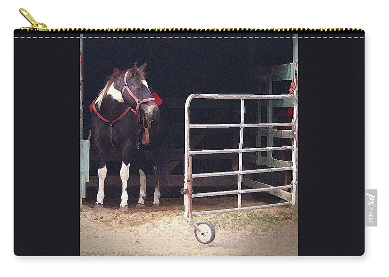 Horse Carry-all Pouch featuring the digital art Listening For My Turn by Kim Henderson