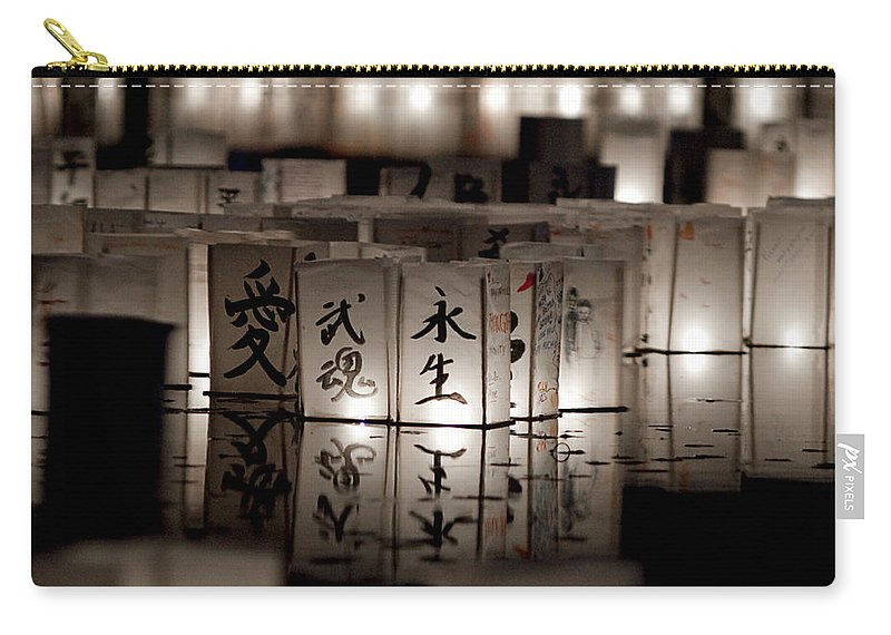 Japanese Lanterns Carry-all Pouch featuring the photograph Lit Memories by Greg Fortier