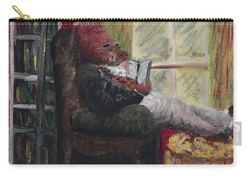 Hog Carry-all Pouch featuring the painting Literary Escape by Nadine Rippelmeyer