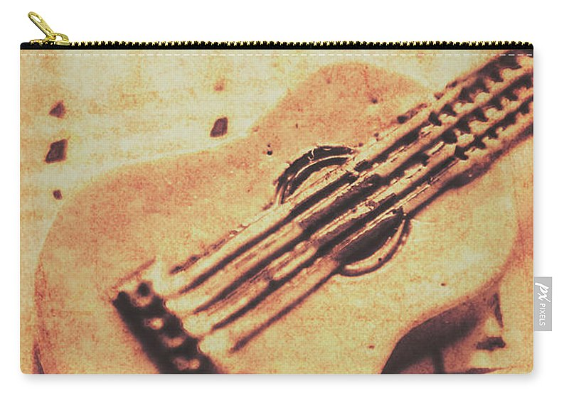Folk Carry-all Pouch featuring the photograph Little Carved Guitar On Sheet Music by Jorgo Photography - Wall Art Gallery