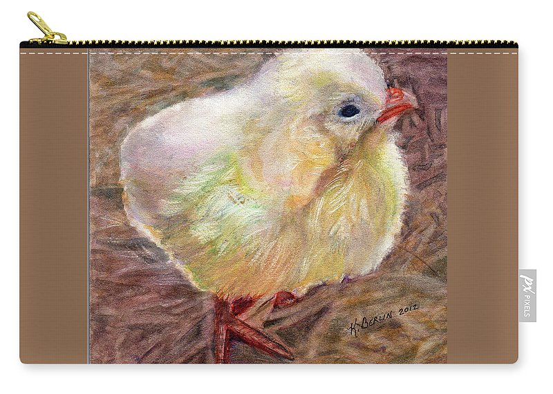 Barnyard Carry-all Pouch featuring the painting Little Chick by Katherine Berlin