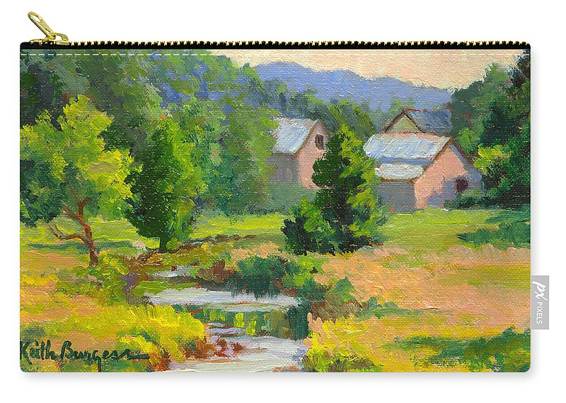 Landscape Carry-all Pouch featuring the painting Little Creek Farm by Keith Burgess