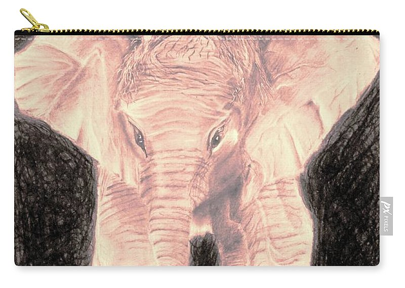Beautiful Carry-all Pouch featuring the drawing Little Elephant by Medea Ioseliani