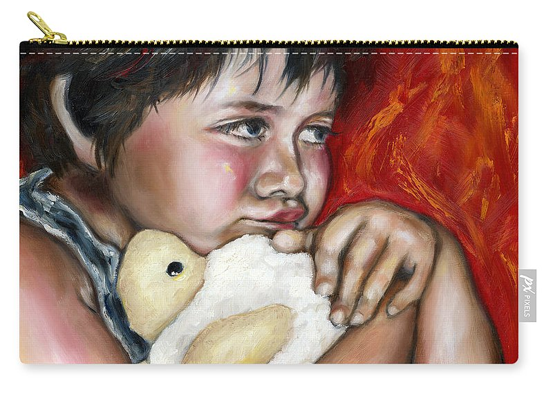 Cute Carry-all Pouch featuring the painting Little Fighter by Hiroko Sakai