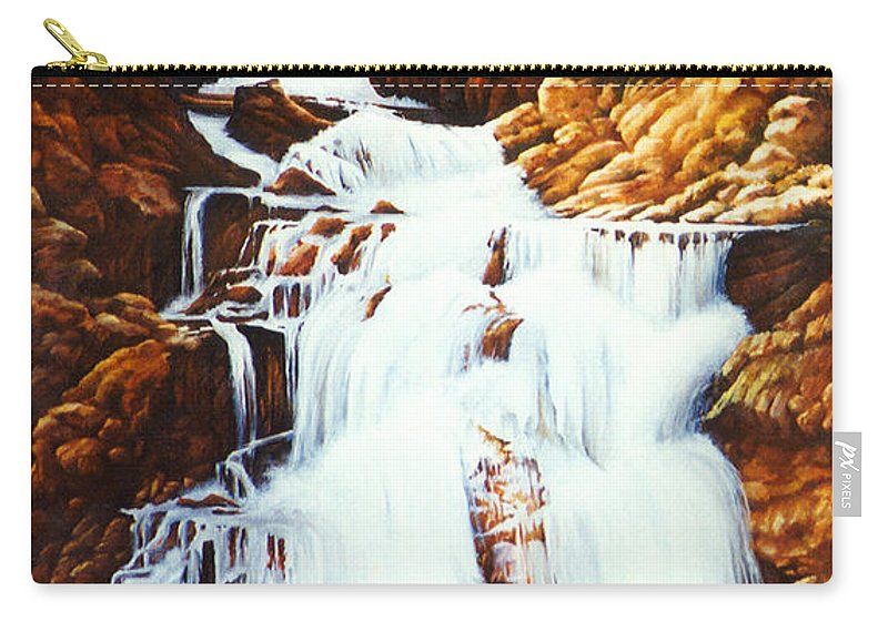 Waterfall Carry-all Pouch featuring the painting Little Firehole Falls by Teri Rosario