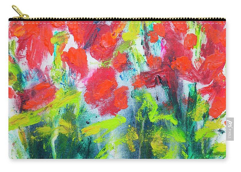 Abstract Carry-all Pouch featuring the painting Little Garden 01 by Claire Desjardins