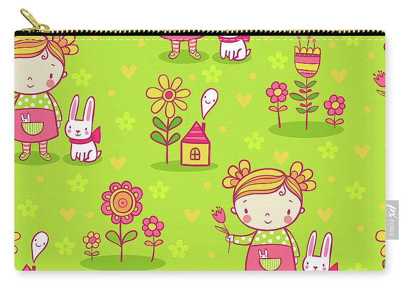 Little Girl Carry-all Pouch featuring the digital art Little Girl With Her Rabbit On A Green Field by Long Shot