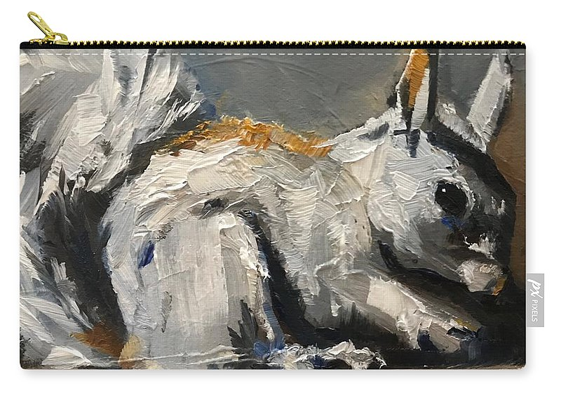 Squirrel Carry-all Pouch featuring the painting Little Gray Squirrel by Gary Bruton