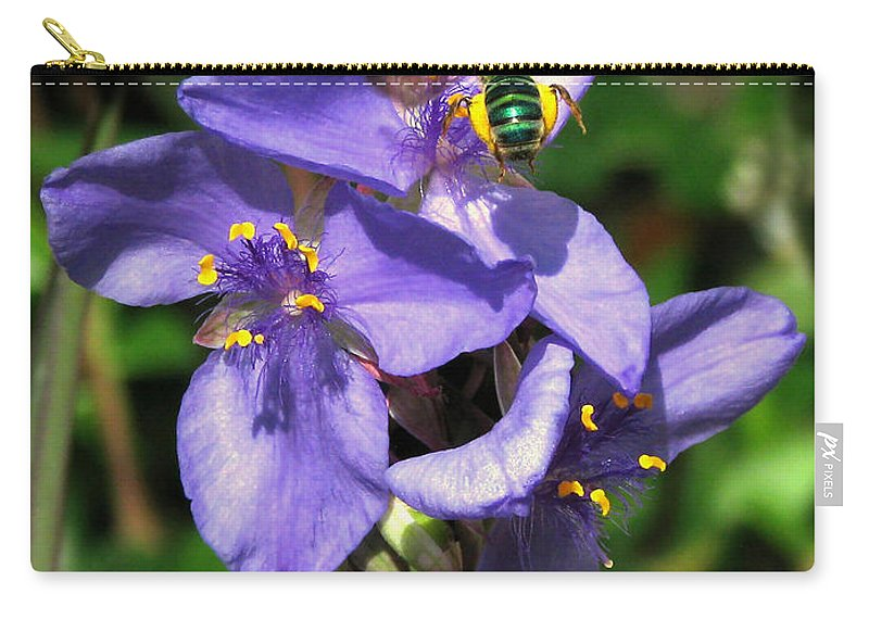 Nature Carry-all Pouch featuring the photograph Little Green Bee by Peg Urban