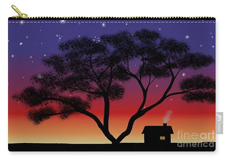 Little House At Sunset Carry-all Pouch featuring the painting Little House At Sunset by Methune Hively