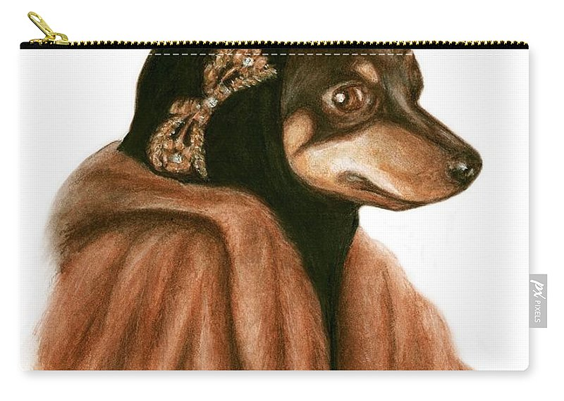 Grey Gardens Dogs Bruce Lennon Art Carry-all Pouch featuring the painting Little Mighty by Bruce Lennon