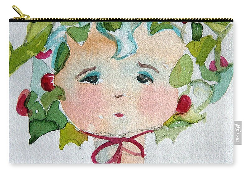 Miss Carry-all Pouch featuring the painting Little Miss Innocent Ivy by Mindy Newman