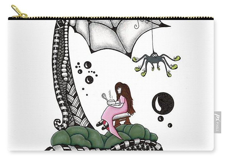 Muffet Carry-all Pouch featuring the drawing Little Miss Muffet by Cathy Nestroyl
