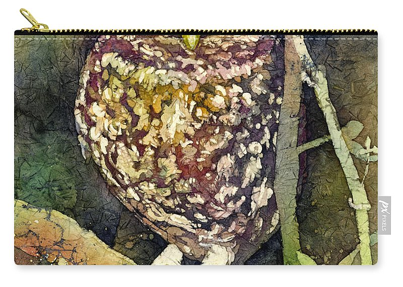 Owl Carry-all Pouch featuring the painting Little Owl by Hailey E Herrera