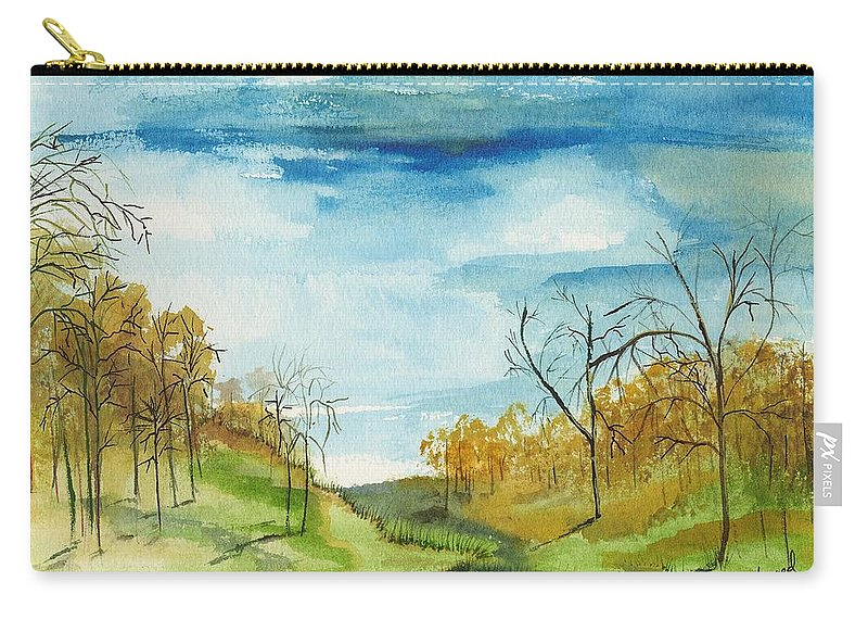 Watercolor Carry-all Pouch featuring the painting Little Path by Carol Sweetwood