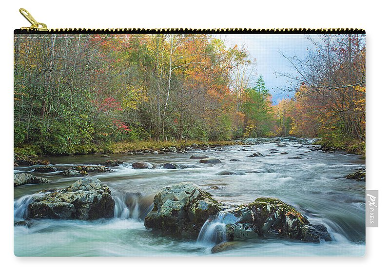 Smoky Mountains Carry-all Pouch featuring the photograph Little Pigeon River Great Smoky Mountains National Park In Fall by Carol Mellema