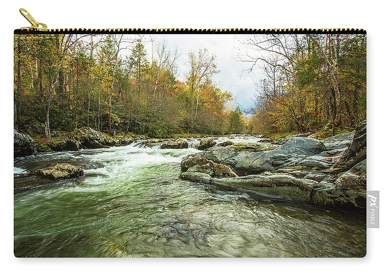 Smoky Mountains Carry-all Pouch featuring the photograph Little Pigeon River Greenbrier Area Of Smoky Mountains by Carol Mellema
