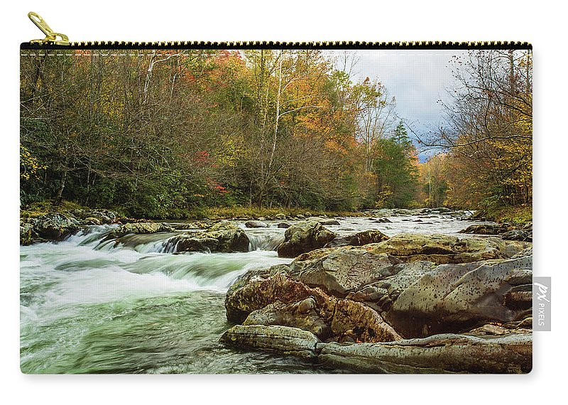 Smoky Mountains Carry-all Pouch featuring the photograph Little Pigeon River In The Greenbrier Section Of Smoky Mountains by Carol Mellema