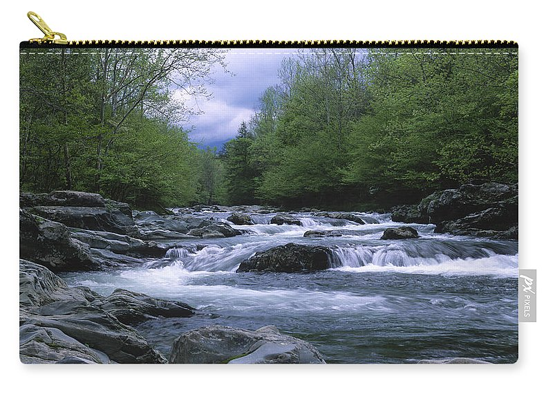 Great Smoky Mountains Carry-all Pouch featuring the photograph Little Pigeon River by Sandra Bronstein