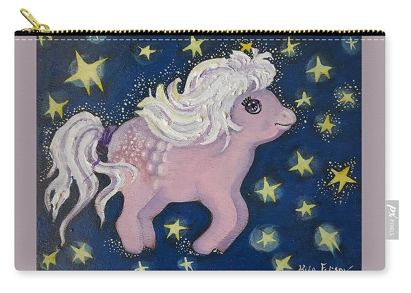 Wood Carry-all Pouch featuring the painting Little Pink Horse by Rita Fetisov