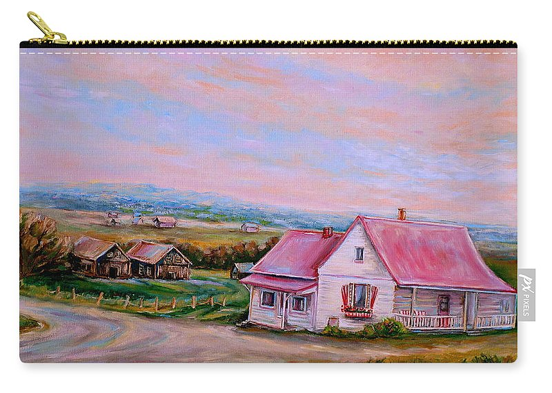 Little Pink Houses Carry-all Pouch featuring the painting Little Pink Houses by Carole Spandau