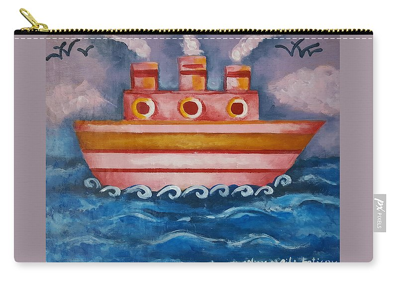Ship Carry-all Pouch featuring the painting Little Pink Ship by Rita Fetisov