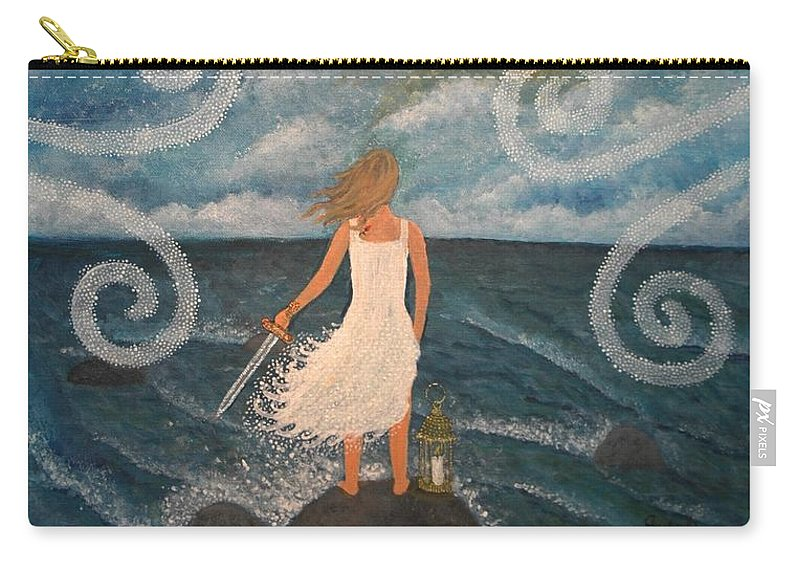Princess Carry-all Pouch featuring the painting Little Princess. / Warrior Of Light. by Annika Persson