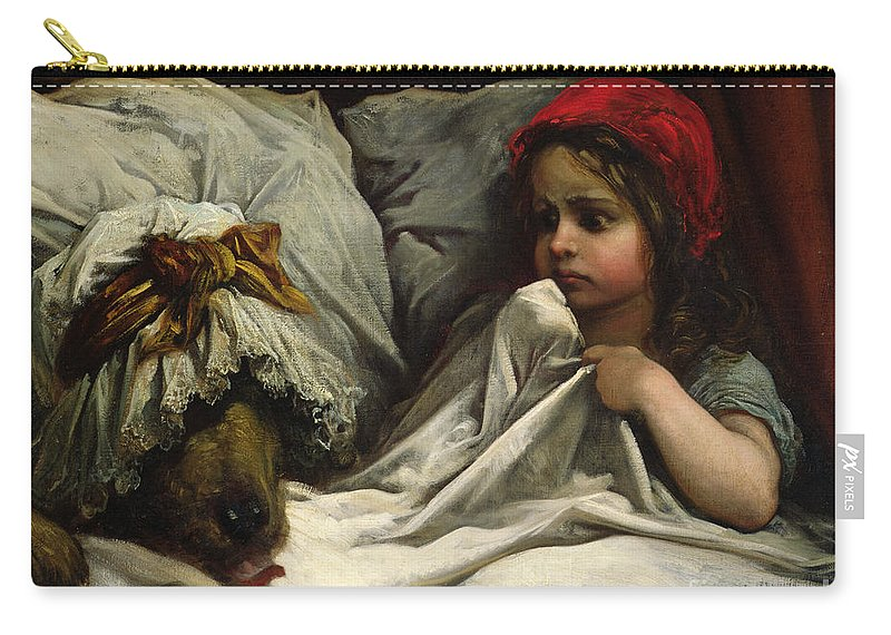 Wolf; Disguise; Child; Girl; Fairy Tale; Story; Glasses; Bed; Nightcap; Fear Carry-all Pouch featuring the painting Little Red Riding Hood by Gustave Dore