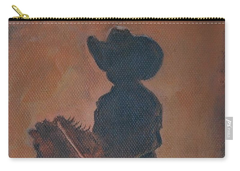 Boy Painting Carry-all Pouch featuring the painting Little Rider by Leslie Allen