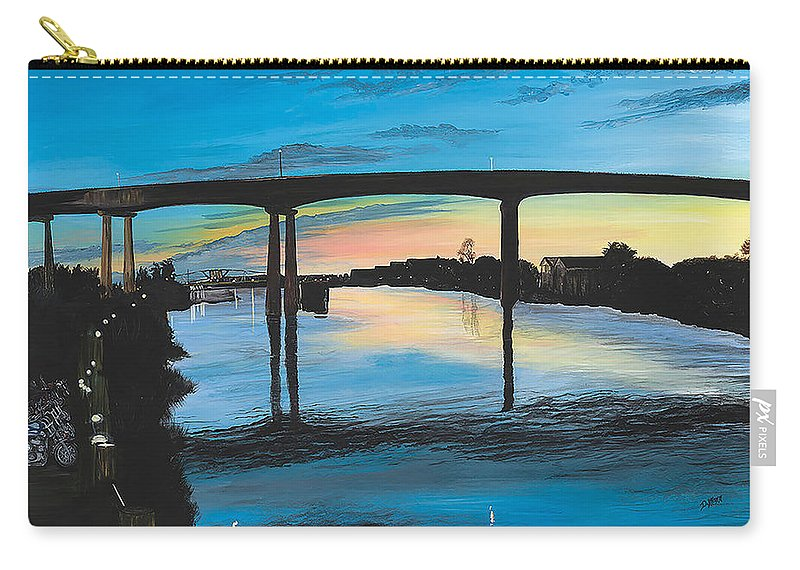 Sunset Carry-all Pouch featuring the painting Little River Waterfront by Donna Mann