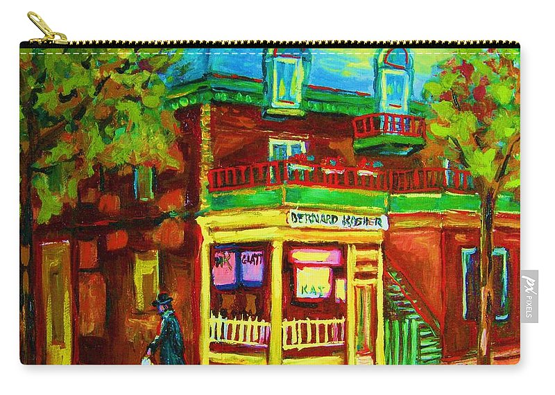 Montreal Streetscenes Carry-all Pouch featuring the painting Little Shop On The Corner by Carole Spandau