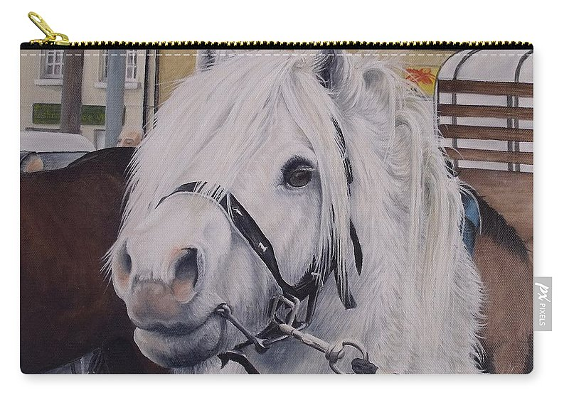 Portrait Carry-all Pouch featuring the painting Little Stallion-glin Fair by Pauline Sharp