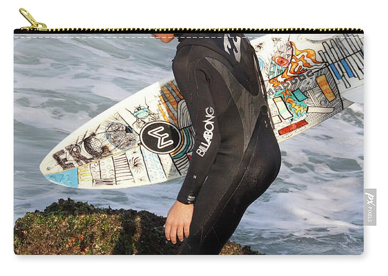 Surfer Carry-all Pouch featuring the photograph Little Surfer Dude by Deborah Benoit