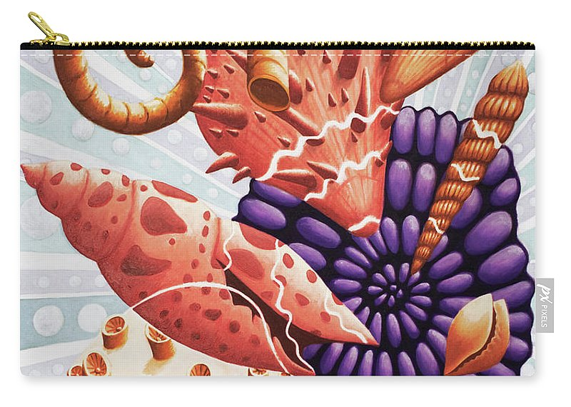 Shells Carry-all Pouch featuring the painting Little Treasures by Rachel Van Balen