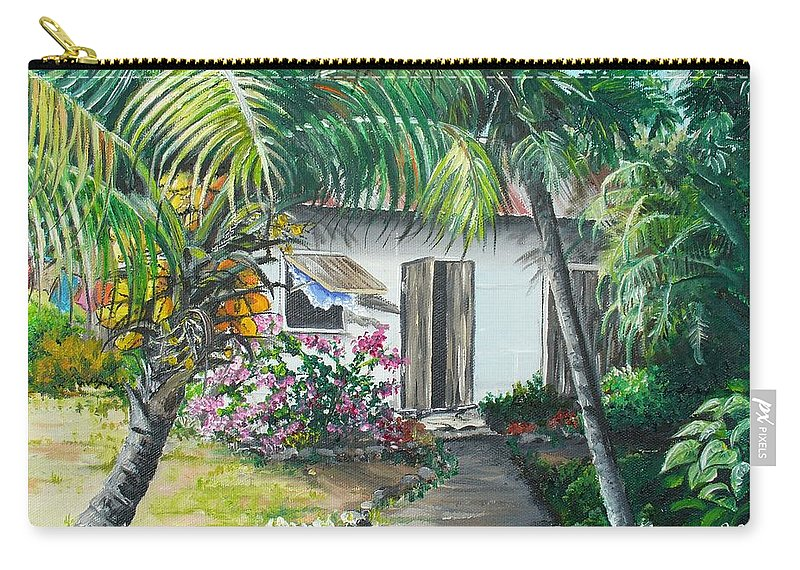 Caribbean Painting Typical Country House In Trinidad And The Islands With Coconut Tree Tropical Painting Carry-all Pouch featuring the painting Little West Indian House 2...sold by Karin Dawn Kelshall- Best
