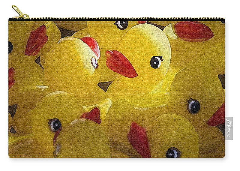 Bird Carry-all Pouch featuring the photograph Little Yellow Duckies by Sharon Foster