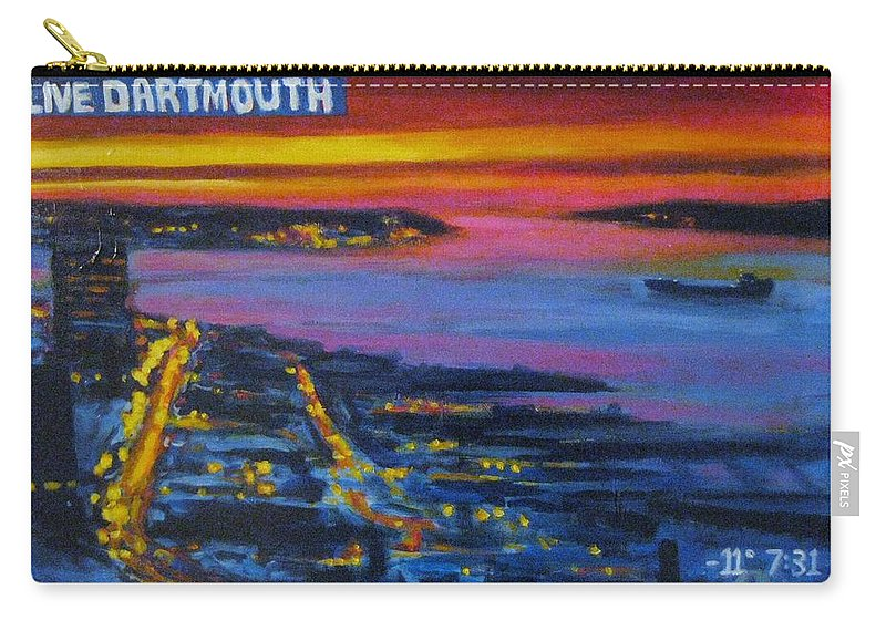 Night Scenes Carry-all Pouch featuring the painting Live Eye Over Dartmouth Ns by John Malone