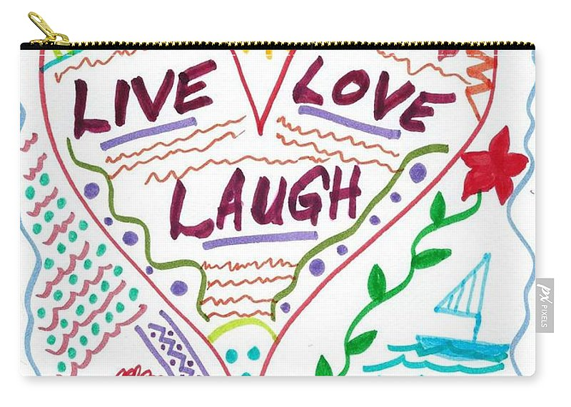 Doodle Art Carry-all Pouch featuring the drawing Live Love Laugh by Susan Schanerman