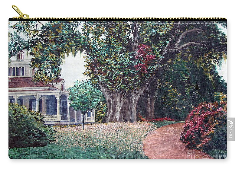 Landscape Carry-all Pouch featuring the painting Live Oak Gardens Jefferson Island La by Todd Blanchard