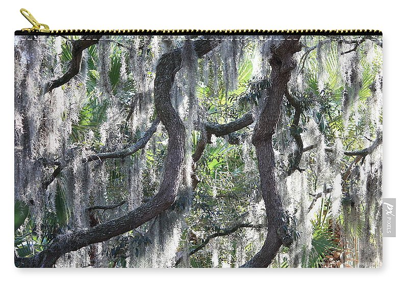 Spanish Moss Carry-all Pouch featuring the photograph Live Oak With Spanish Moss And Palms by Carol Groenen