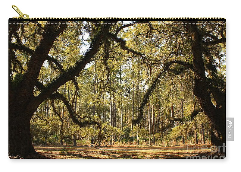 Savannah Carry-all Pouch featuring the photograph Live Oaks Silhouette by Carol Groenen