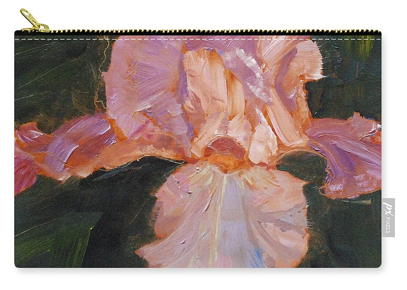 Art Carry-all Pouch featuring the painting Lively Iris by Mary Benke