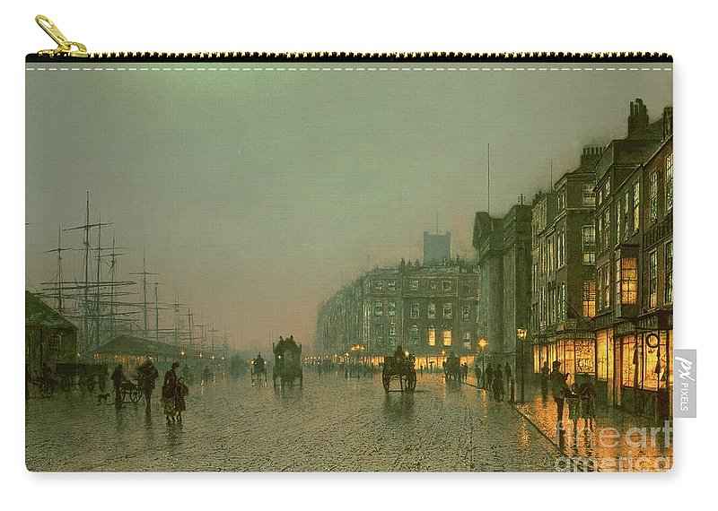 Liverpool Docks From Wapping Carry-all Pouch featuring the painting Liverpool Docks From Wapping by John Atkinson Grimshaw