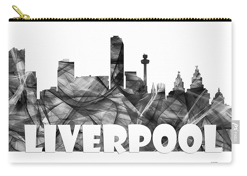 Liverpool Carry-all Pouch featuring the digital art Liverpool England Skyline by Marlene Watson