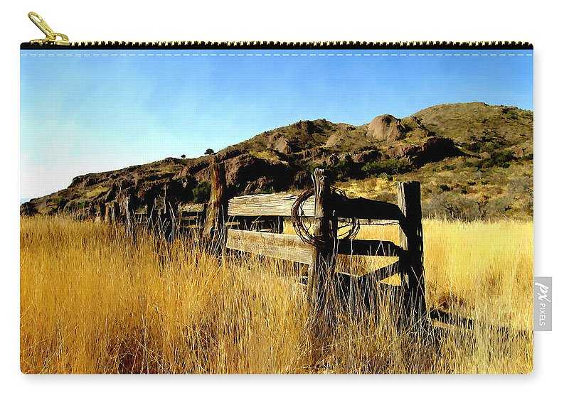Southwestern Carry-all Pouch featuring the photograph Livery Fence At Dripping Springs by Kurt Van Wagner