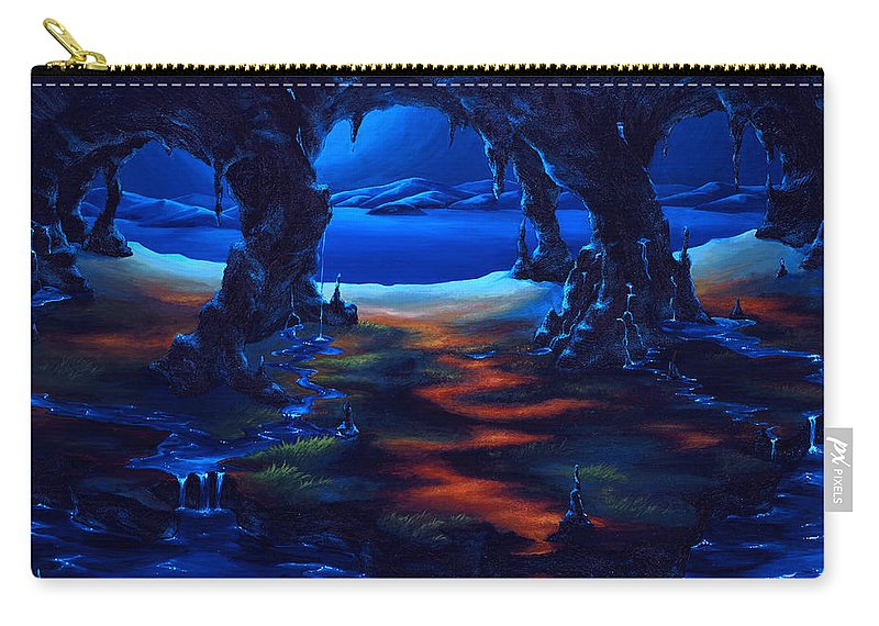 Textured Painting Carry-all Pouch featuring the painting Living Among Shadows by Jennifer McDuffie