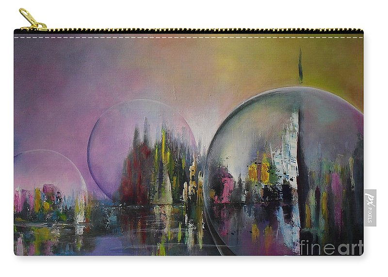 Living In A Bubble Carry-all Pouch featuring the painting Living In A Bubble by Lia Van Elffenbrinck