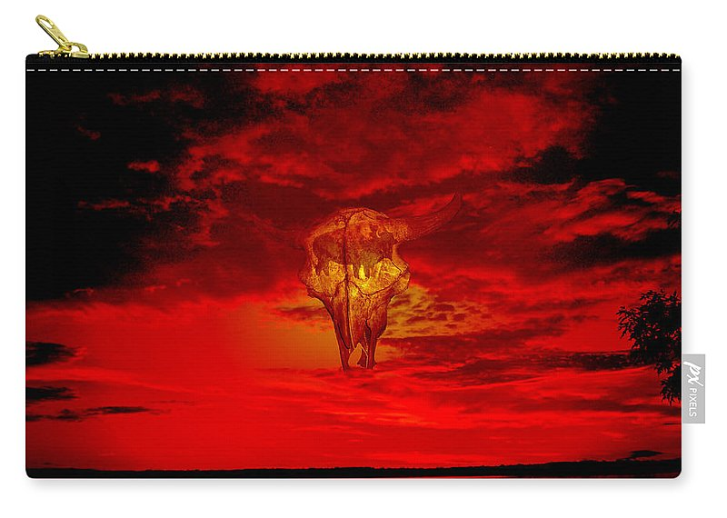 Skull Sky Red Dawn Buffalo Clouds Cloudy Nature Bison Water Skyline Waterscape Carry-all Pouch featuring the photograph Living Sky by Andrea Lawrence