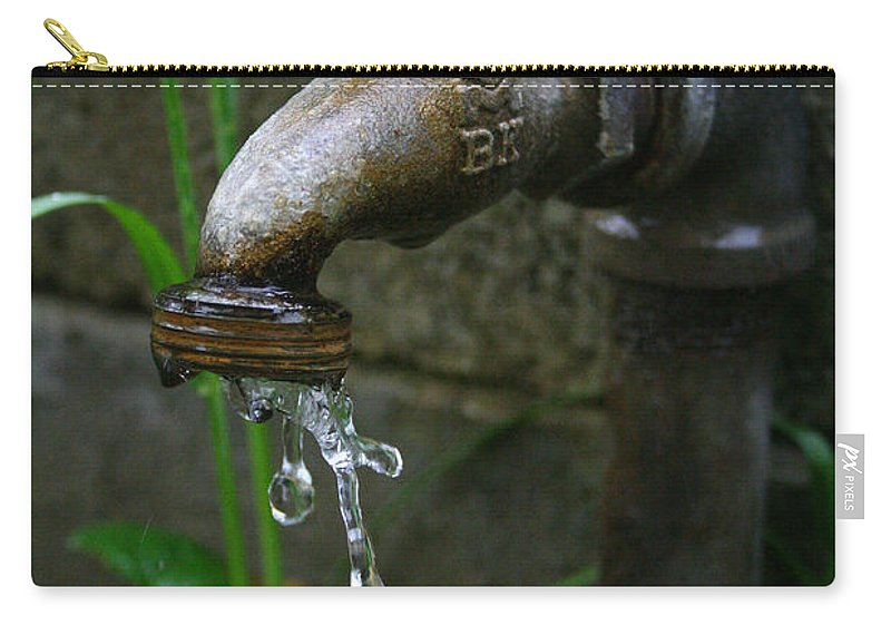 Water Faucet Valve Nature Garden Drop Dripping Red Wet Life Grow Nourish Rural Country Carry-all Pouch featuring the photograph Living Water by Andrei Shliakhau